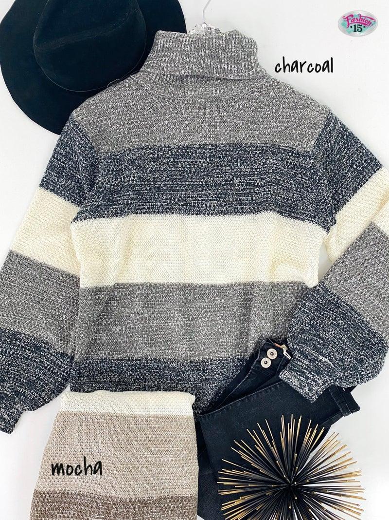 .Turtle Neck Knit Color Block Top
