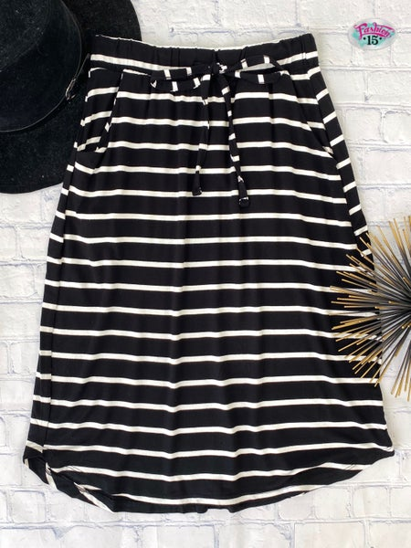 .Black & Ivory Striped Skirt w/ Drawstring