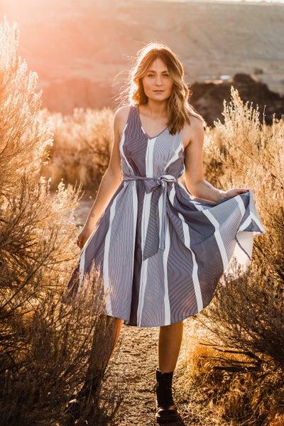 Striped Dress w/ Tie