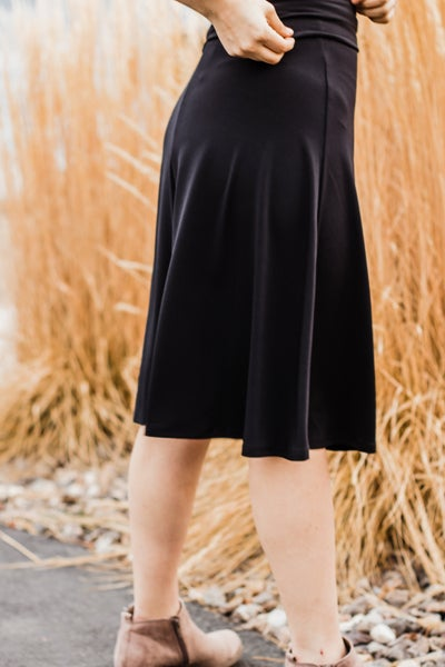 Black A-Line Flared Skirt