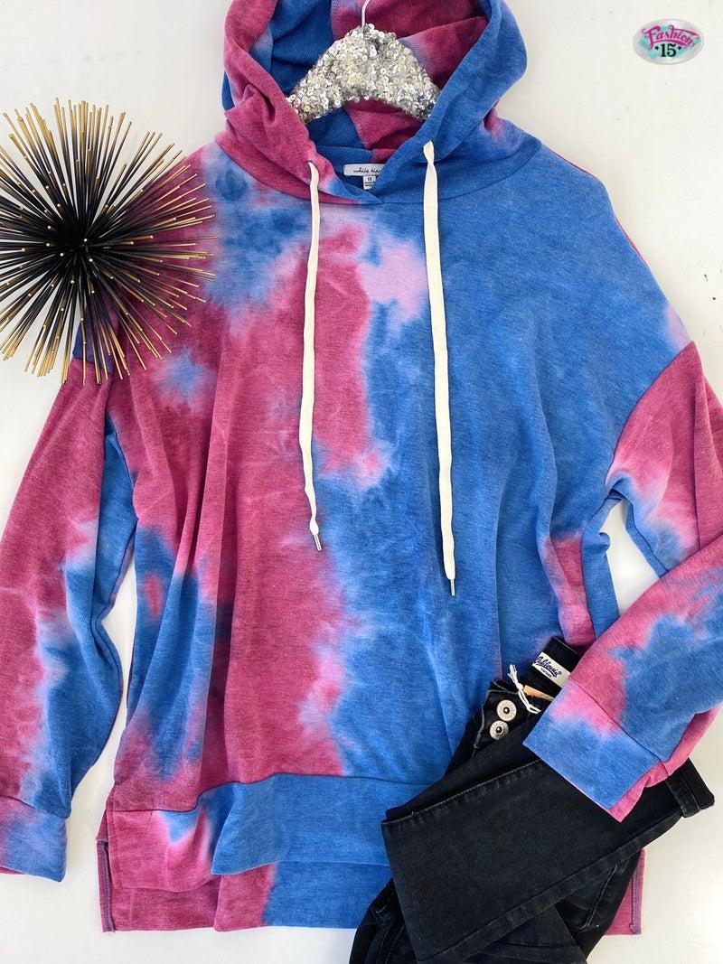 Plus Blue & Pink Tye Dye Hoodie