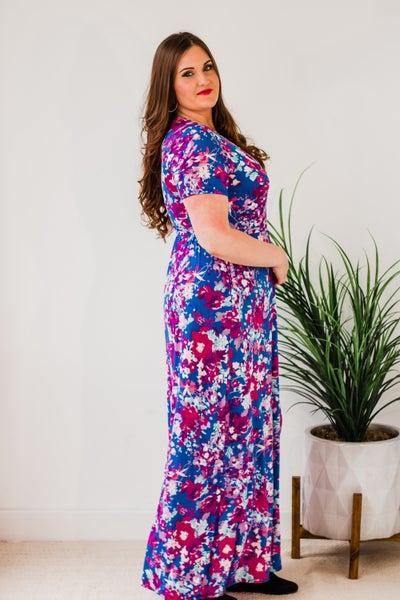 Plus Blue Floral Maxi Dress