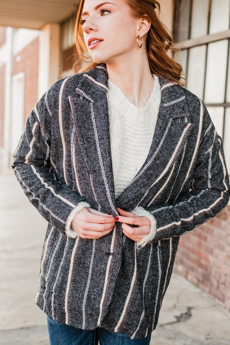 .Charcoal & Cream Striped Jacket