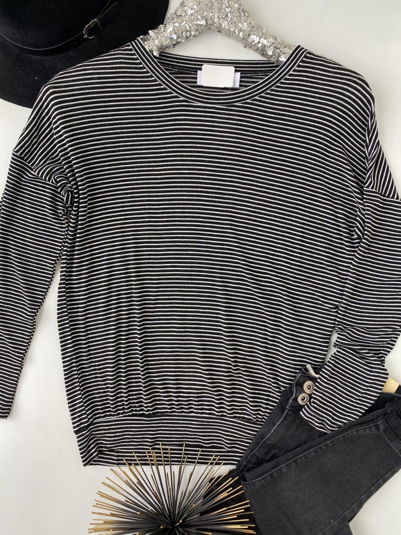 Black & White Striped Knit Top