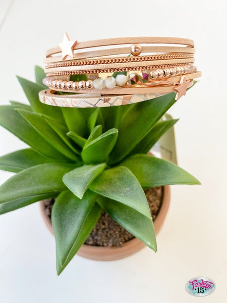 Rose Gold Multi Row Magnetic Bracelet