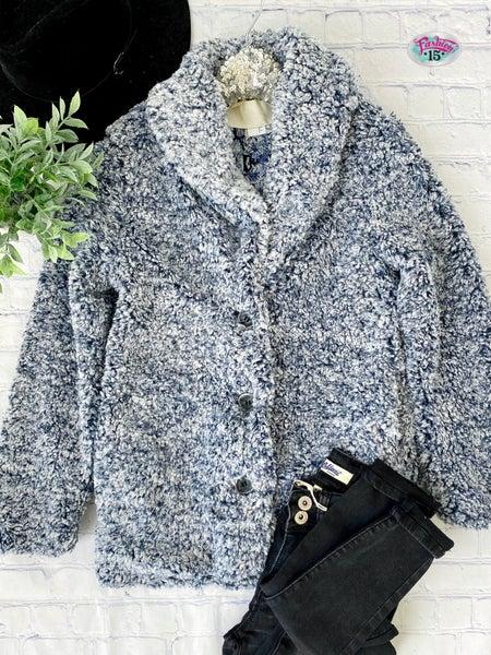 .Navy & Ivory Sherpa Button-Up Jacket
