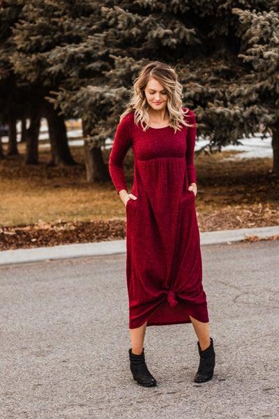 Brushed Knit Maxi Dress