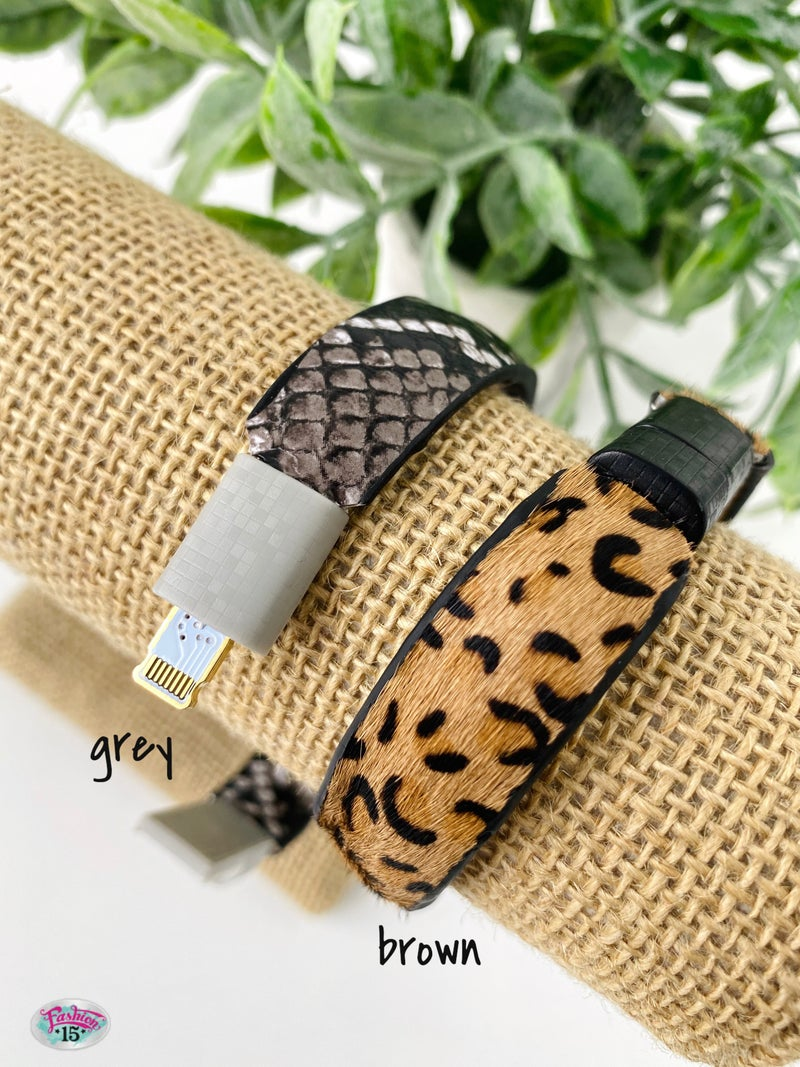 .Animal Print Phone Cable Bracelet