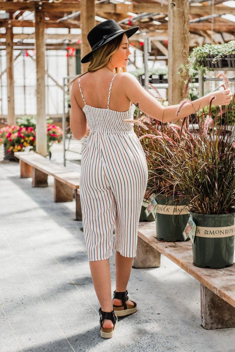 Striped Jumpsuit w/ Keyhole