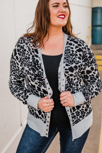 Plus Animal Print Snap Cardigan