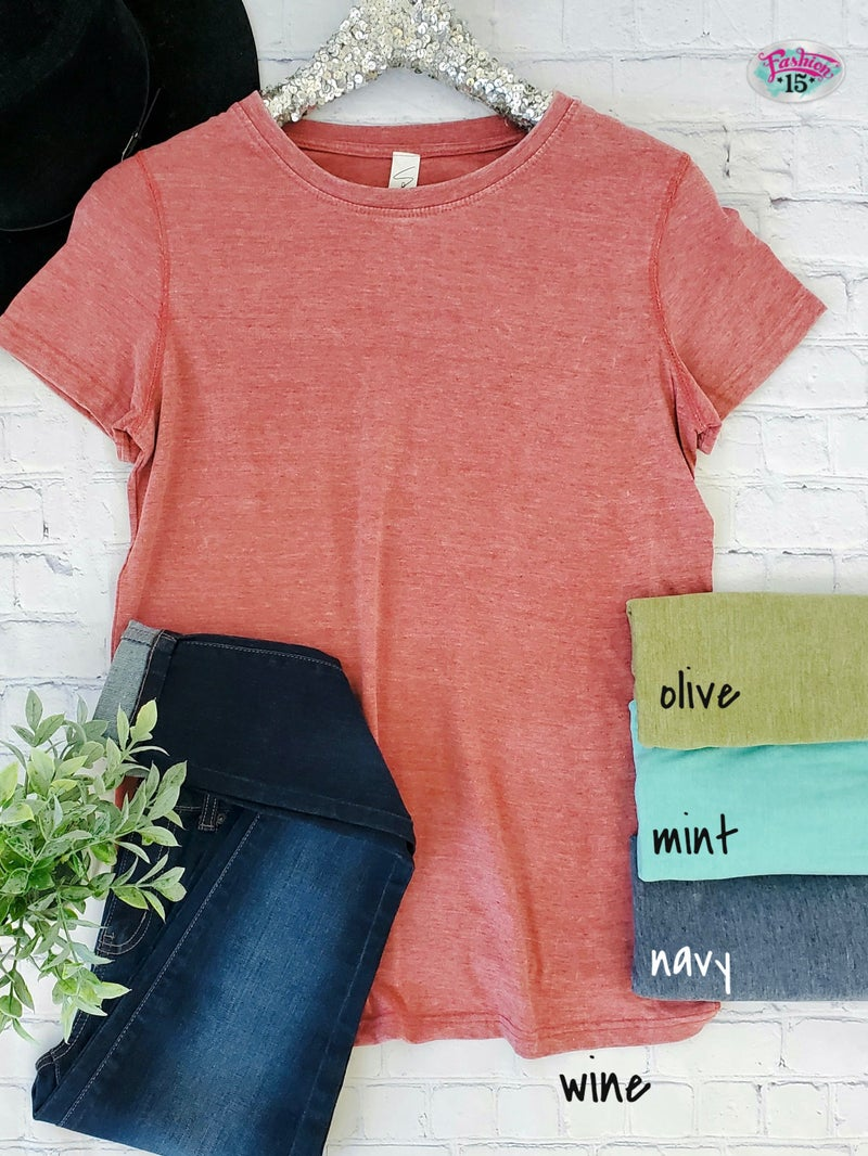 Crew Neck Mineral Wash Tee