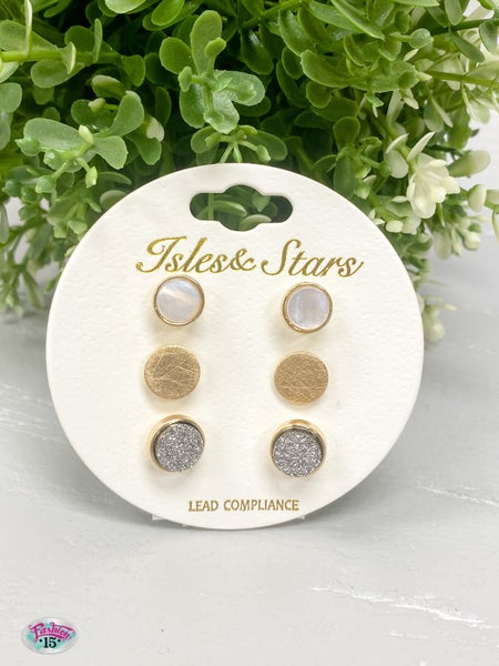 Trio Round Gold Earrings