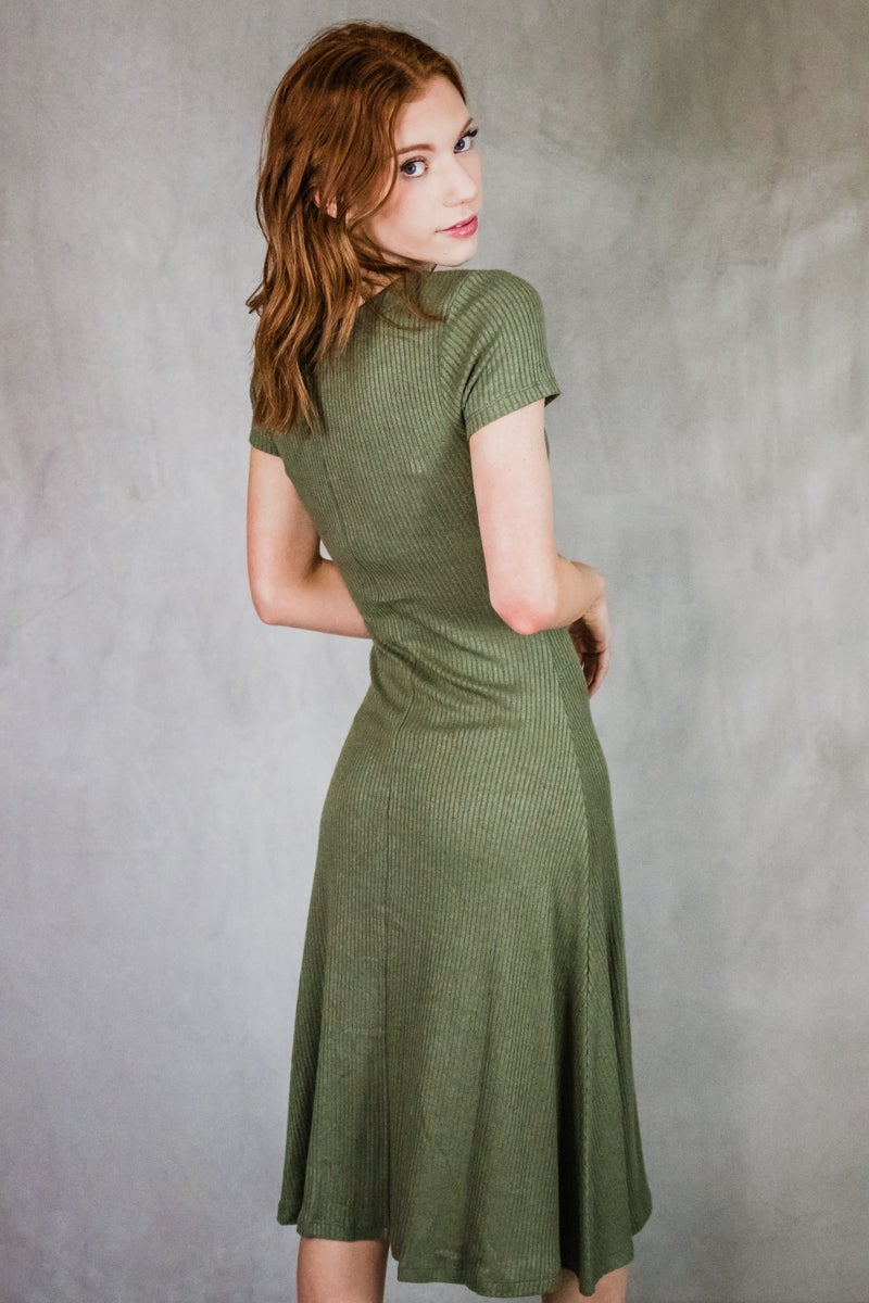 Ribbed Dress w/ Buttons