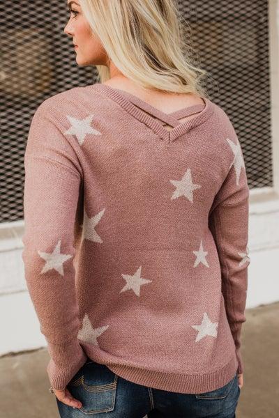 Mauve Star Top w/ Criss Cross Detail