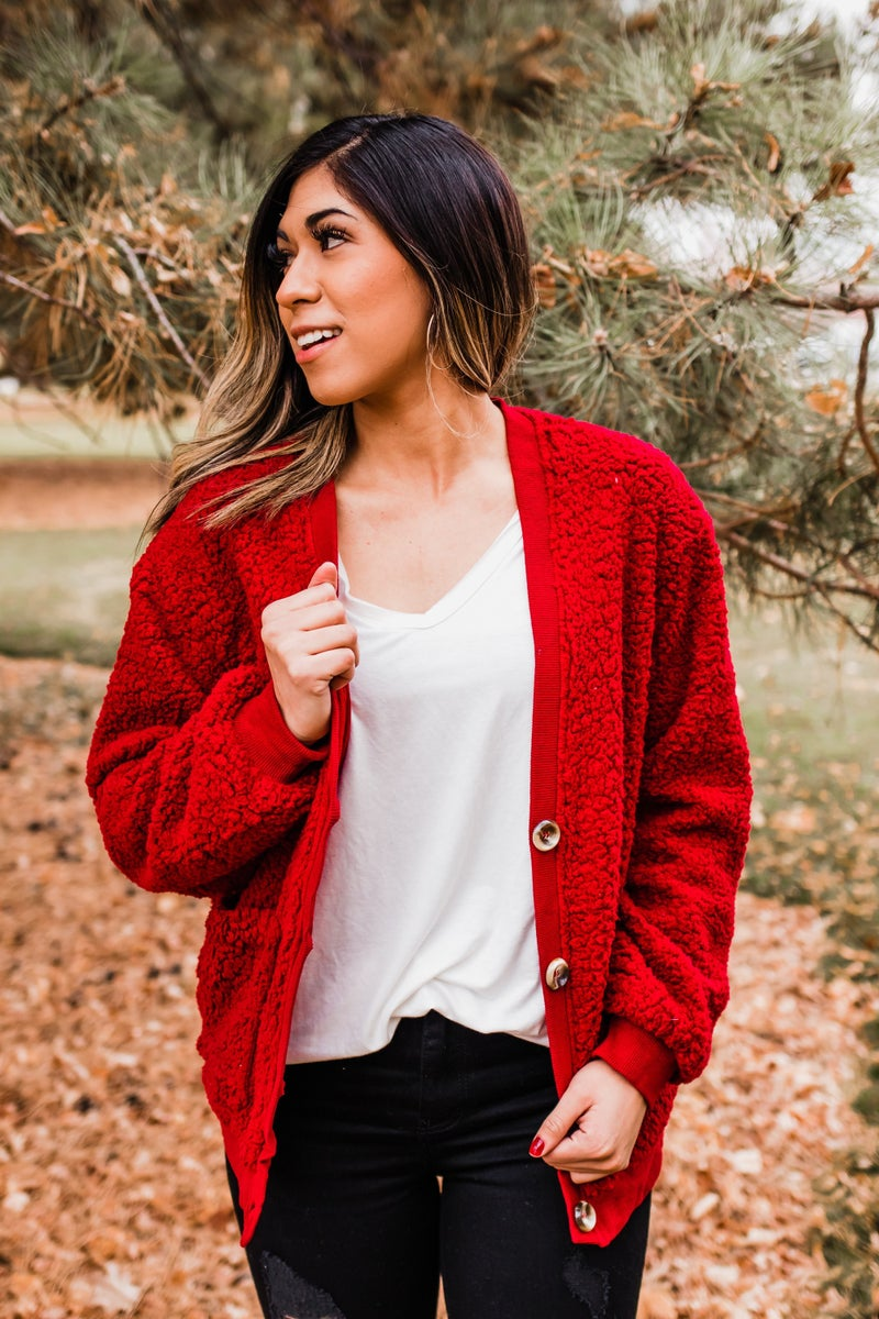 .Button-Up Sherpa Jacket