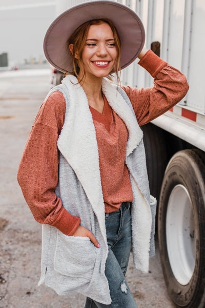 *Erin's Closet* Heather Grey Vest w/ Ivory Sherpa