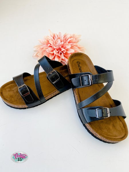 Black Strappy Buckle Sandals
