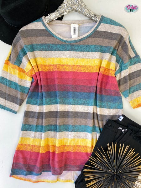 .Colorful Striped Top