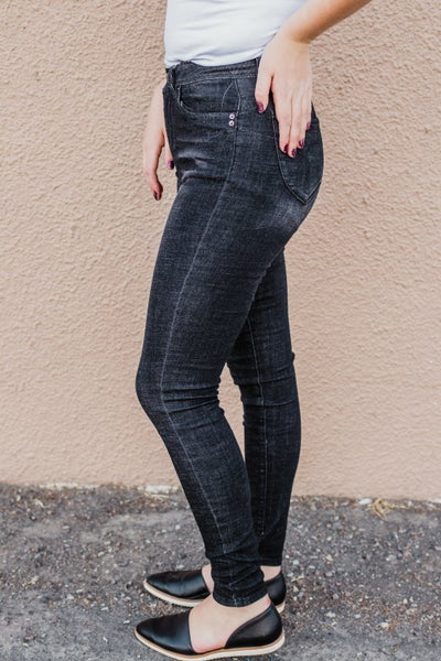 .Black High Rise Skinny Denim