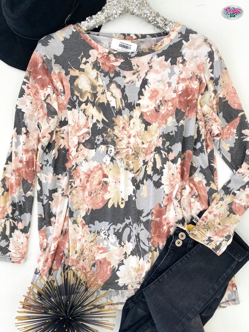 .~Pink & Charcoal Floral Tunic Top