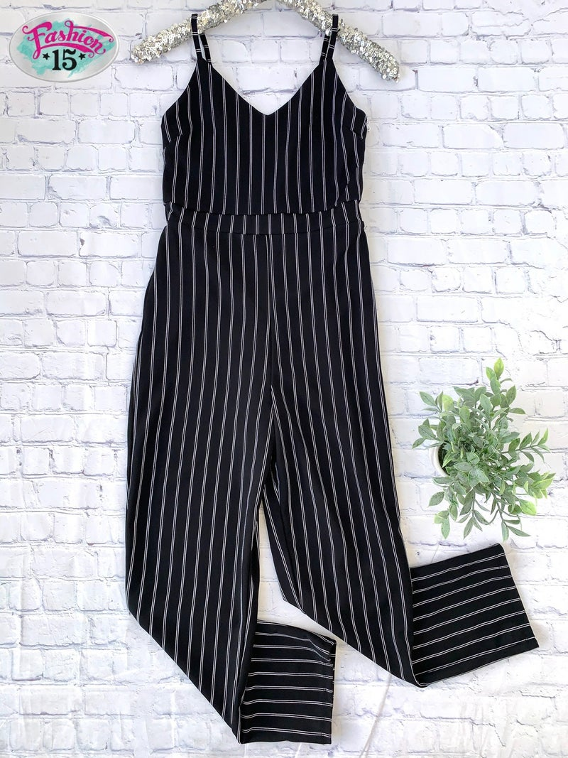 Black & Ivory Striped Jumpsuit