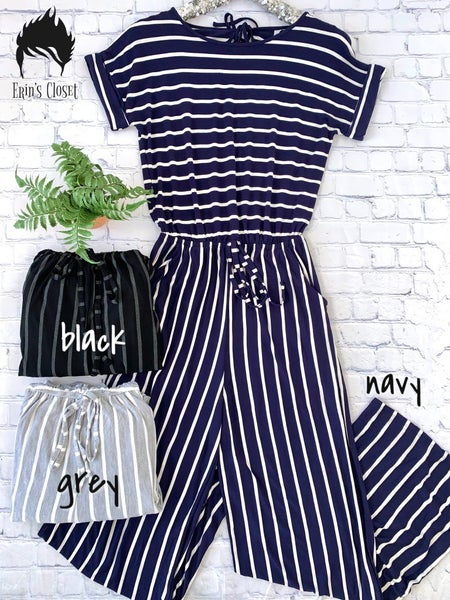 .*Erin's Closet* Plus Striped Jumpsuit *Final Sale*
