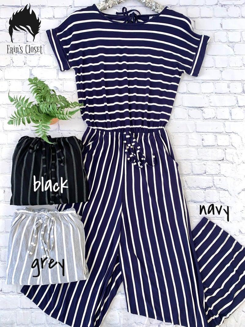 .*Erin's Closet* Plus Striped Jumpsuit *Final Sale*