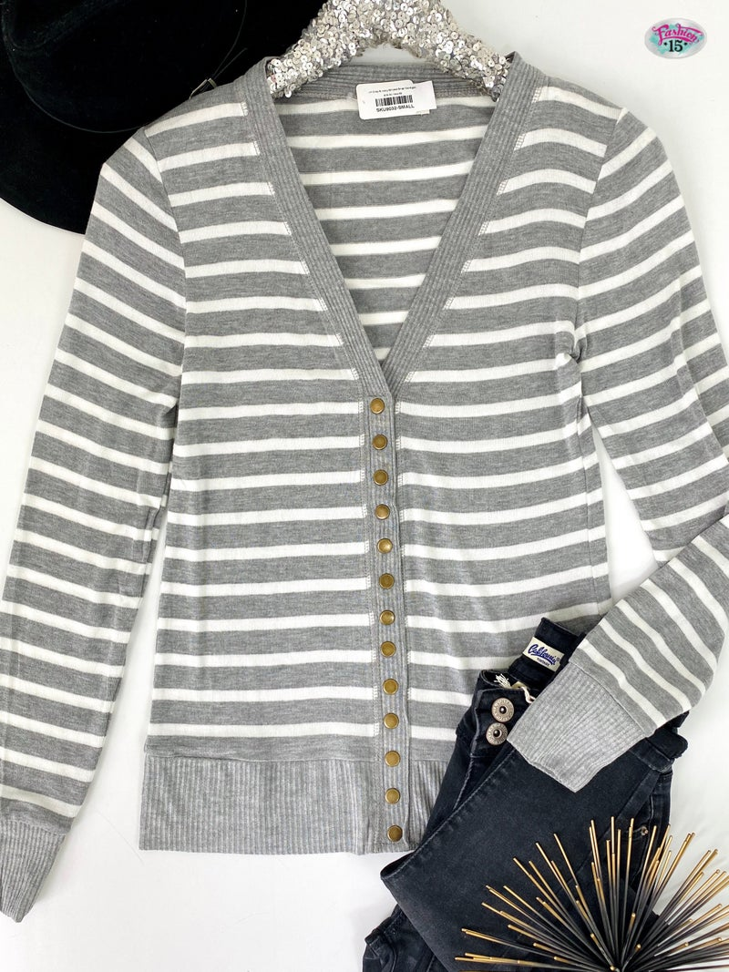 ~H Grey & Ivory Striped Snap Cardigan