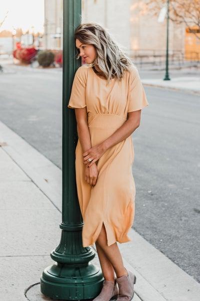 Mustard Gathered Bodice Dress
