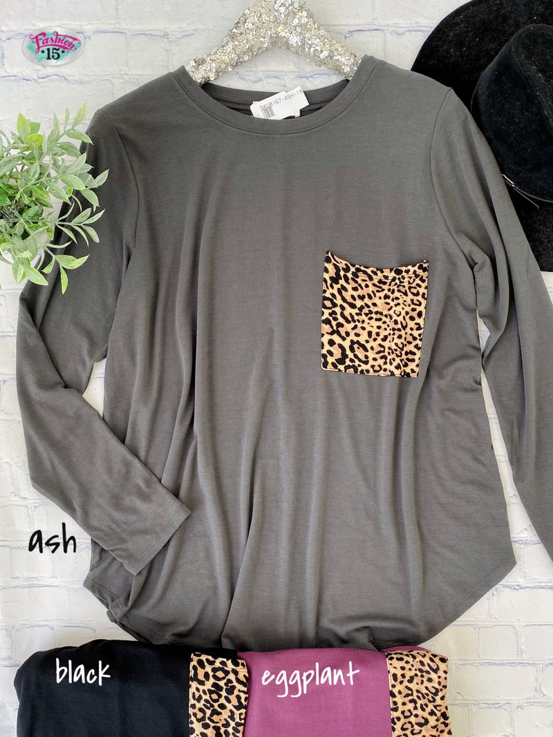 Plus Long Sleeve Top w/ Animal Print Top