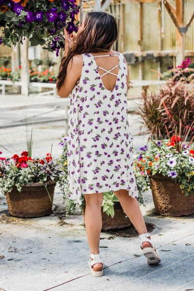 Lilac Floral Swing Dress