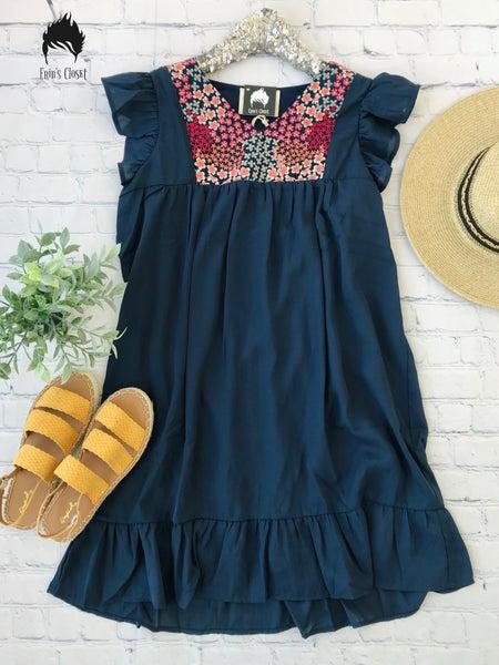 *Erin's Closet* Navy Dress w/ Floral Detail