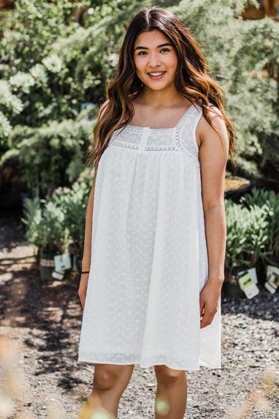 Ivory Dress w/ Eyelet Lace Detail