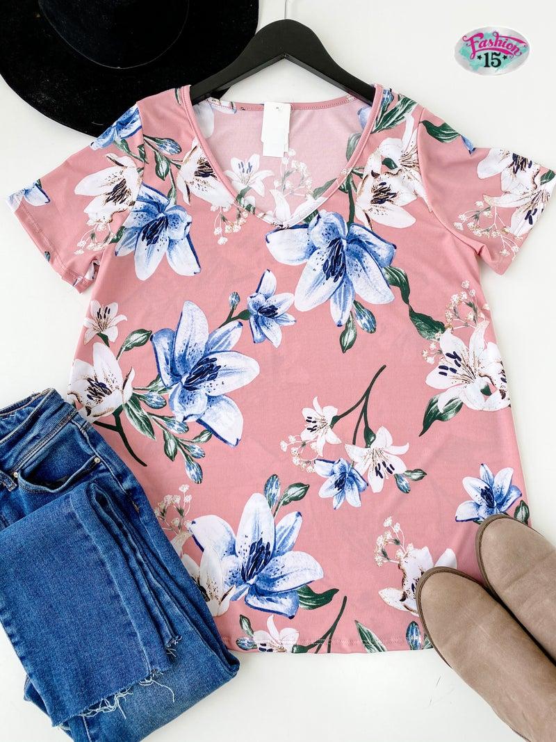 ~Pink V-Neck Floral Top