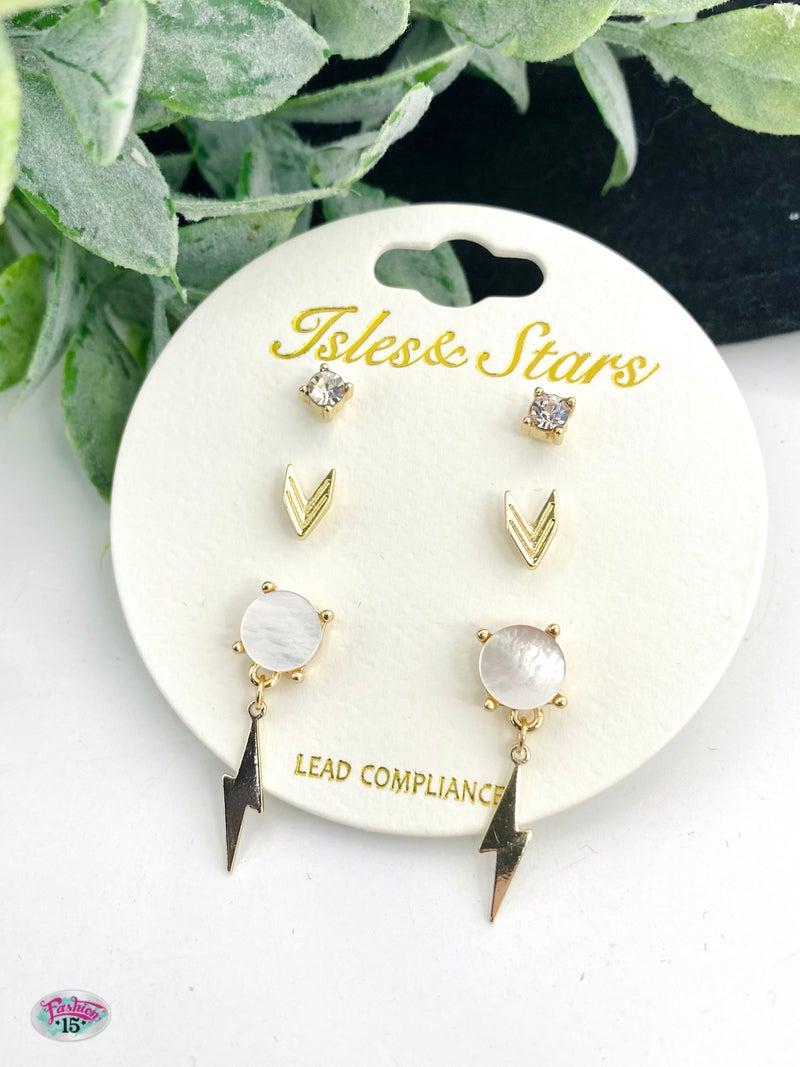 Trio Gold Earrings