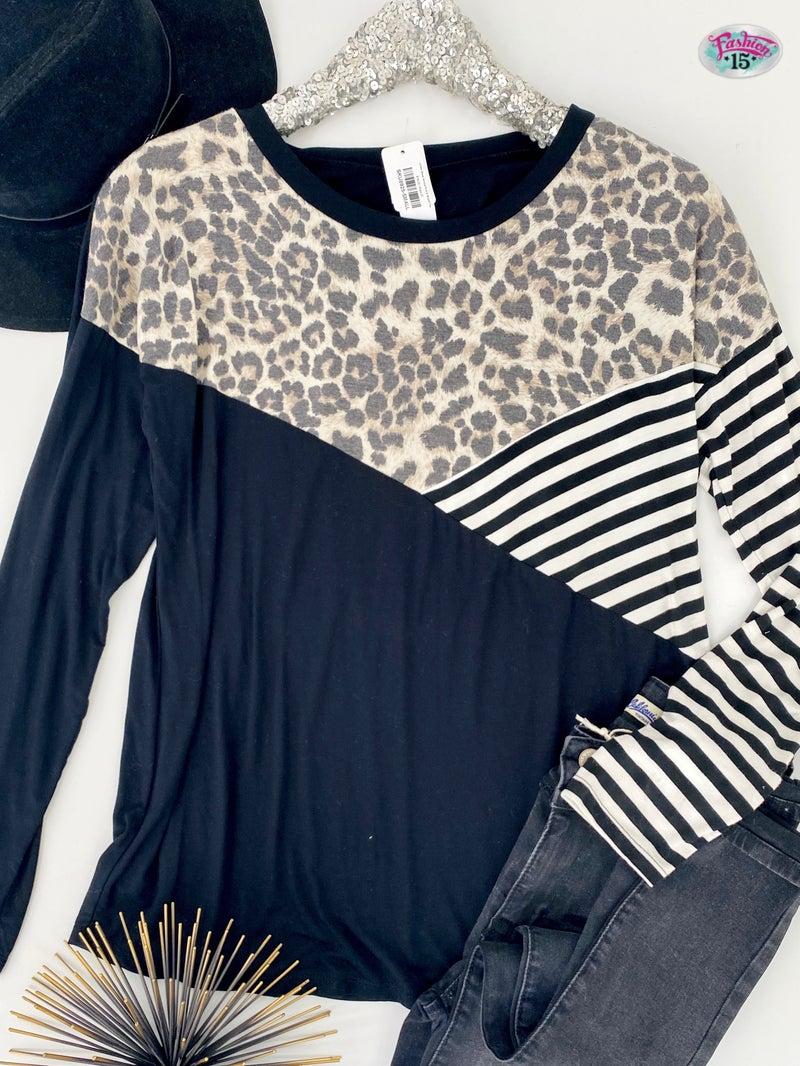 .~Color Block Animal Print & Striped Top