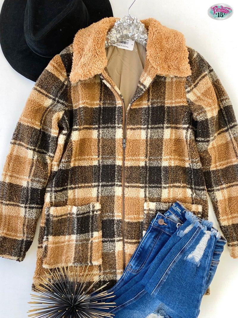 .Plaid Zip-Up Jacket