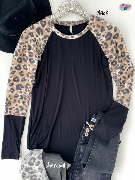 .~Solid Top w/ Animal Print Sleeves