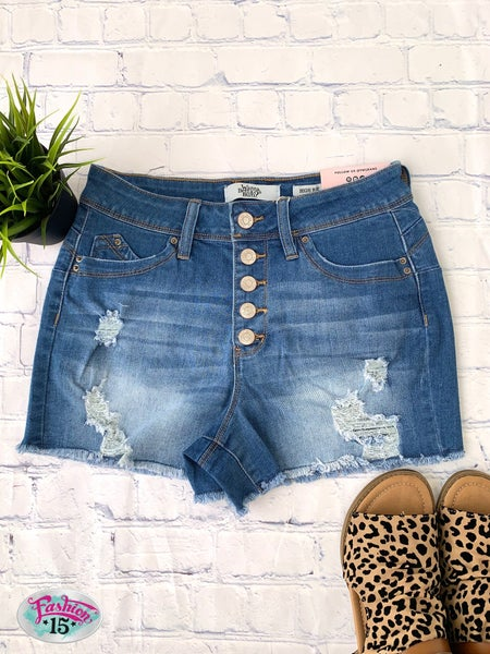 Distressed Button Fly Shorts