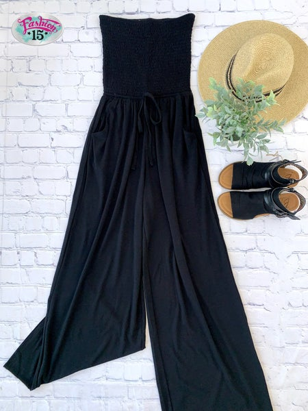Smocked Tube Top Jumpsuit w/ Pocket