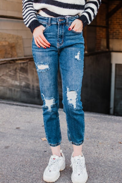 .Distressed Denim Jogger