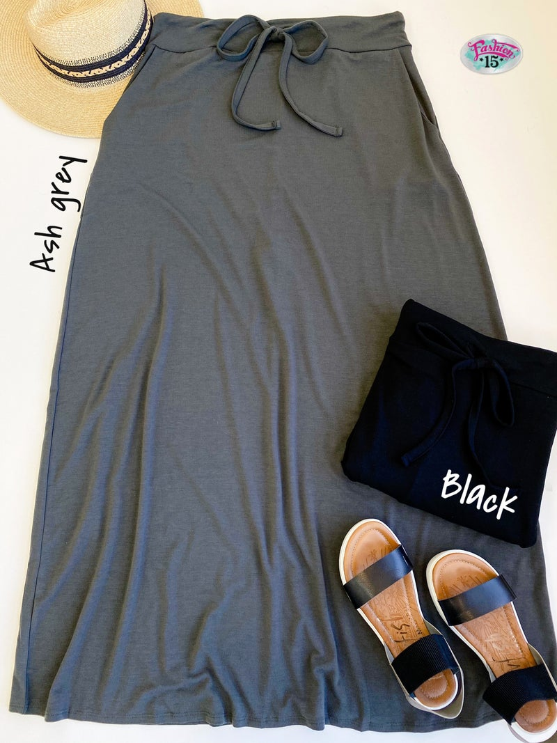 Plus Solid Maxi Skirt w/ Drawstring