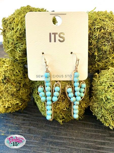 Teal Cactus Earring