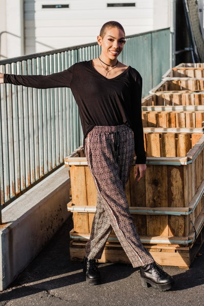 Patterned Pants w/ Drawstring