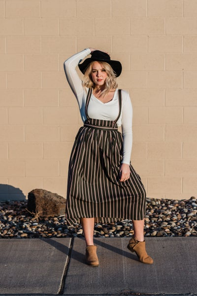 Olive Striped Overall Skirt