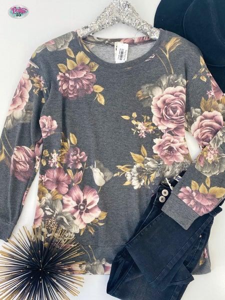 .Grey Floral Top