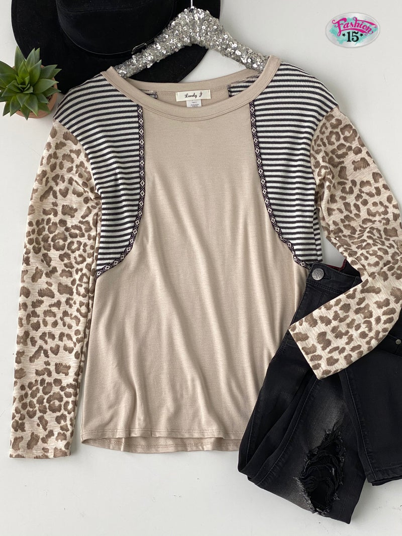 Taupe Animal Print and Striped Top