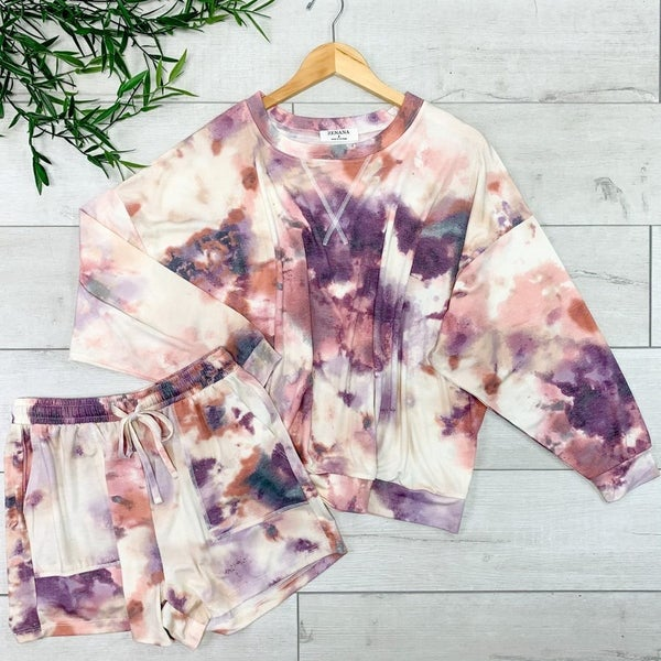 ~Long Sleeve Tie Die Short Set