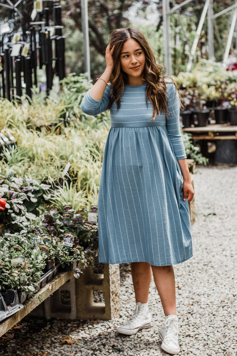 Striped Dress w/ Empire Waist *Final Sale*