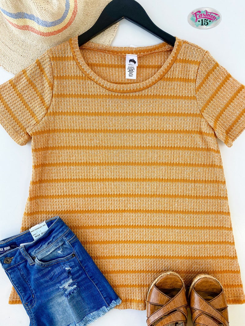~Mustard Striped Top
